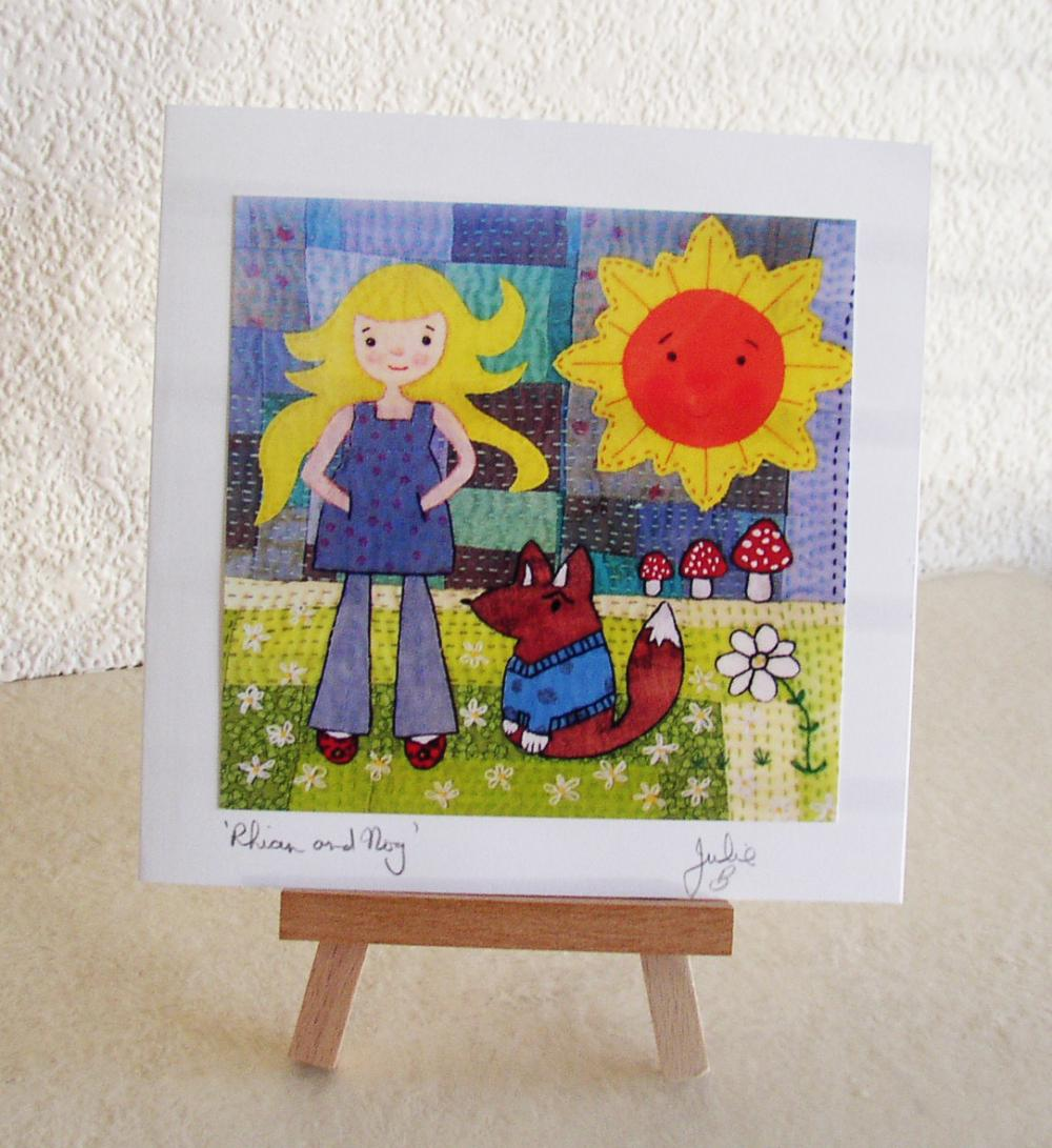 Rhian and Nog Artcard Greetings Card