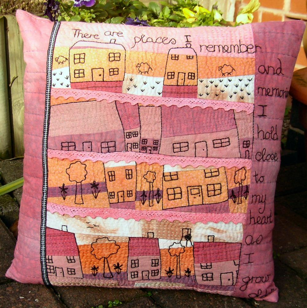 "Hand Embroidered Art Pillow. ""Our House"""