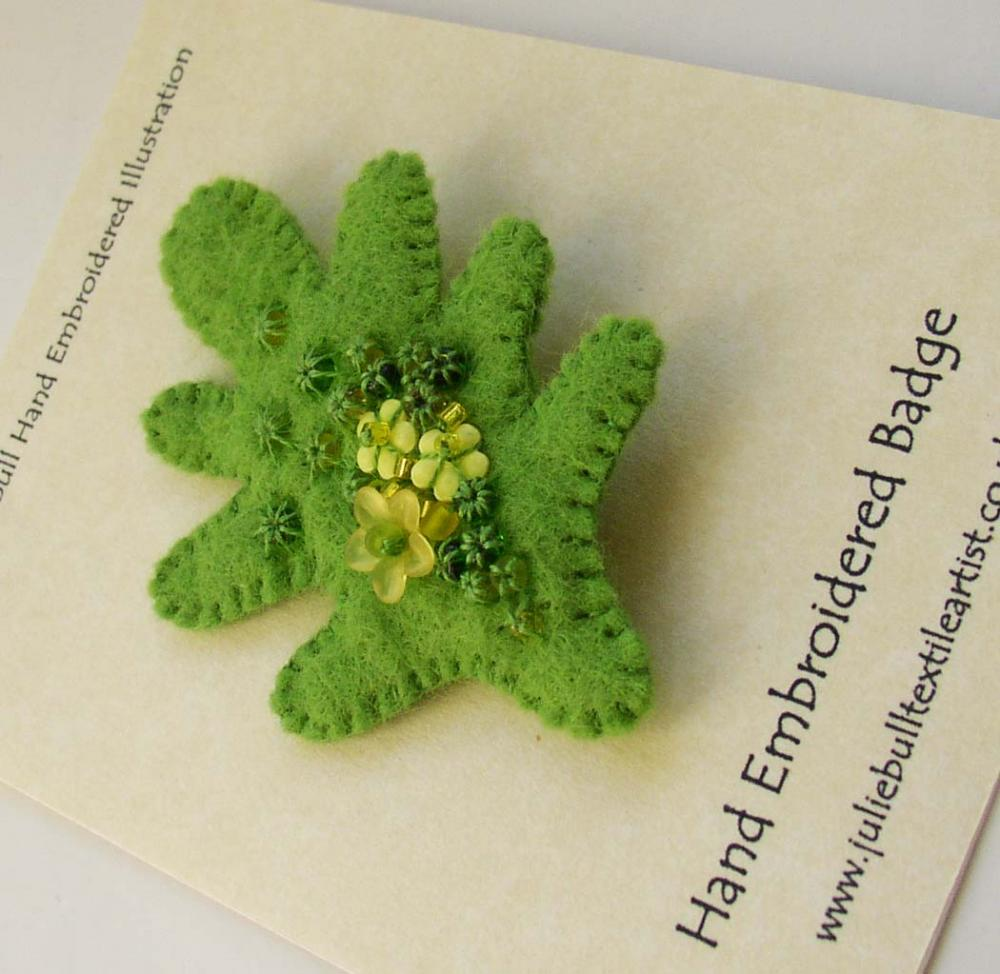 Hand Embroidered Wool Felt Brooch. Spring Oak Leaf.