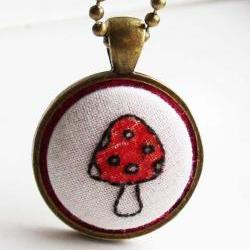 Tiny Toadstool Hand Embroidered Pendant