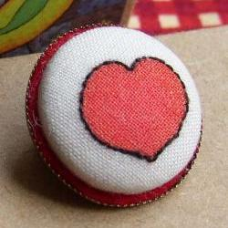Valentine Heart Hand Embroidered Badge